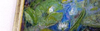緩やかなカーブを描く休憩棟ではシンボルの水蓮の絵画が会葬者の偲ぶ心を包み込みます。